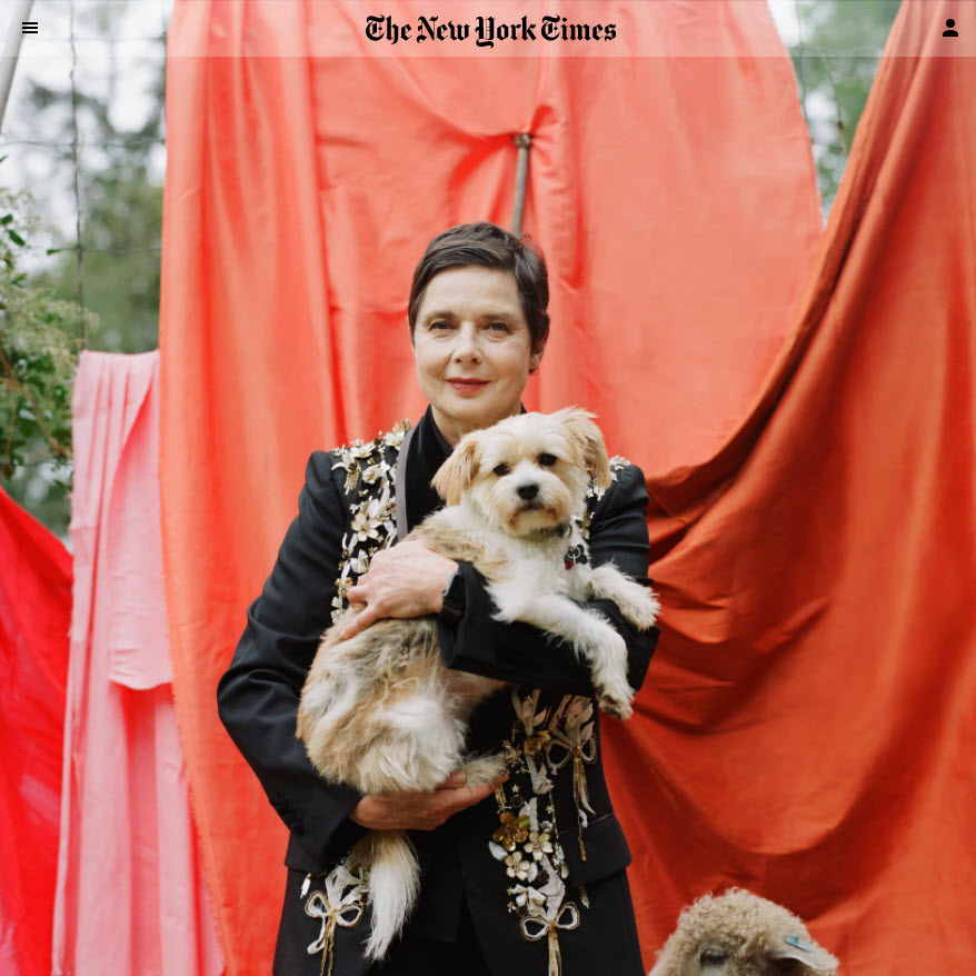 Screenshot og photo shoot with Isabella Rossellini posted on The New York Times