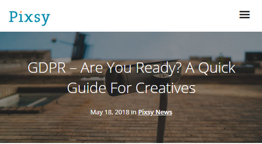 Screenshot of article on GDPR posted on Pixsy