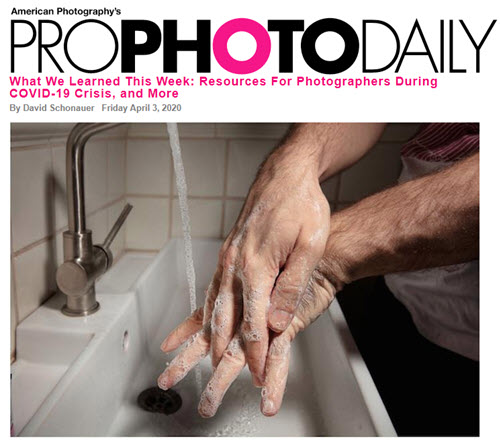 Screenshot of article on coronavirus posted on Pro Photo Daily