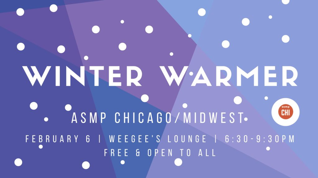 Blue and purple triangle graphic stating Winter Warmer event title with asmp logo and the event details