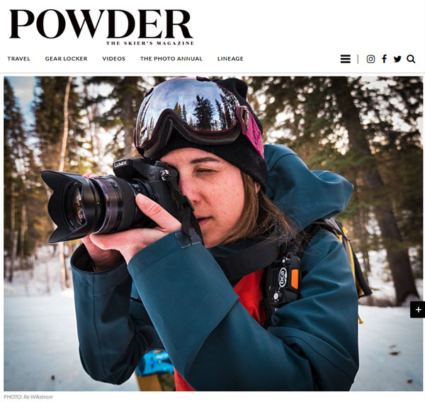 Screenshot of article posted on Powder Magazine web site.