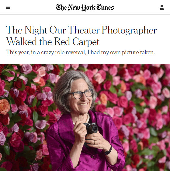 Screenshot of article about Sara Krulwich posted at The New York Times. Photo credit Evan Agostini