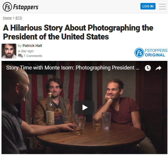 Screenshot of article on photographing the President of the United States