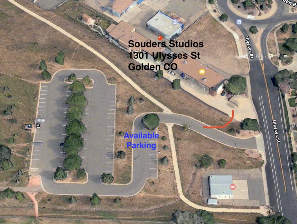 Map of Souders Studios with parking