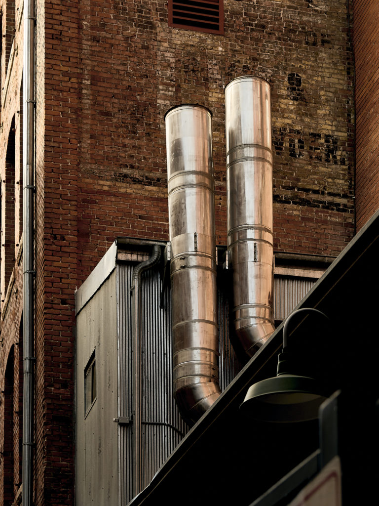 Back alley building pipes