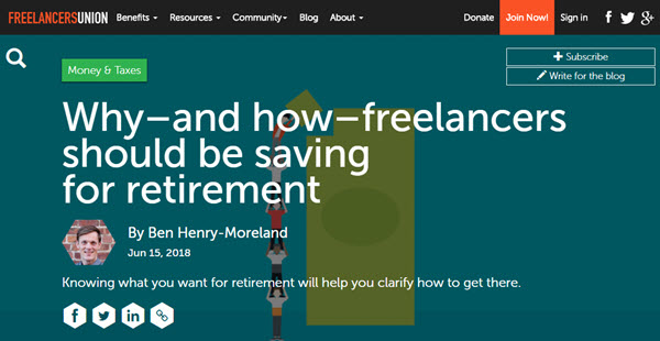Screenshot of article about saving for retirement posted at Freelancers Union Blog