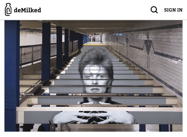 Screenshot of article on David Bowie subway exhibition posted on deMilked