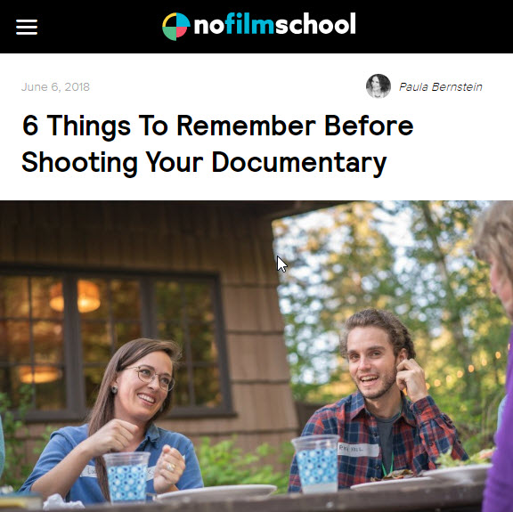 Screenshot of article posted at No Film School