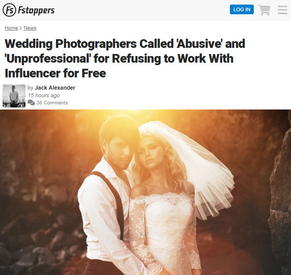 Screenshot of article posted on Fstoppers