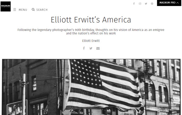 Screesnhot of article about Elliott Erwitt posted on Magnum Photo