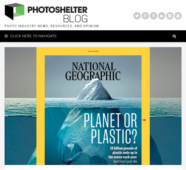Screenshot of article on NatGeo cover posted on PhotoShelter Blog