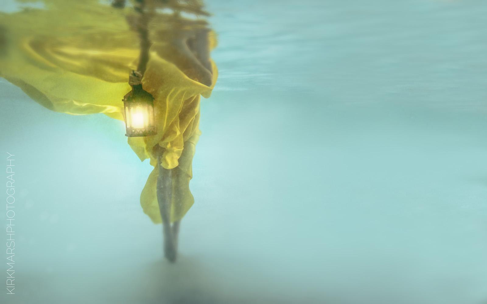 underwater, female, woman, caucasian, legs, lantern