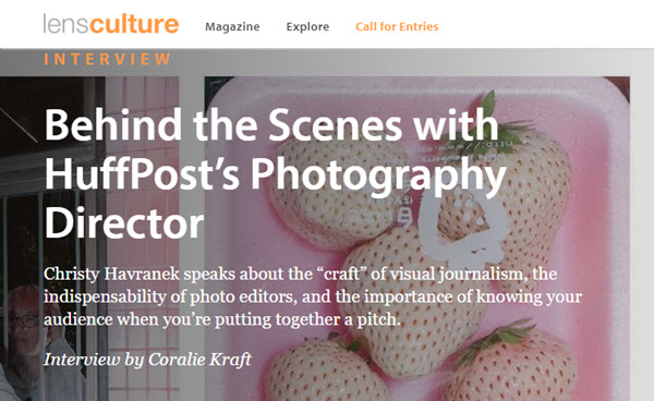 Screenshot of interview with Christy Havranekposted at LensCulture