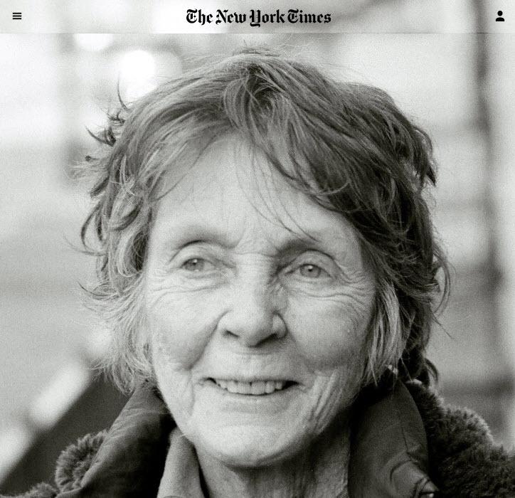 Screenshot of Jill Freedman's obit from the New York Times