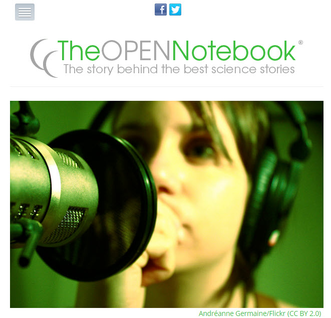 Screenshot of article posted on The Open Notebook