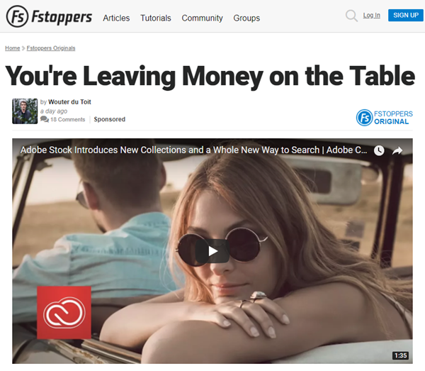 screenshot of article on stocj photography posted on Fstoppers