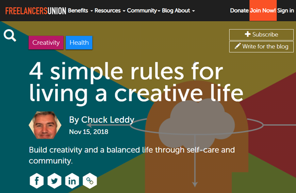 Screenshot of article posted at Freelancers Union Blog