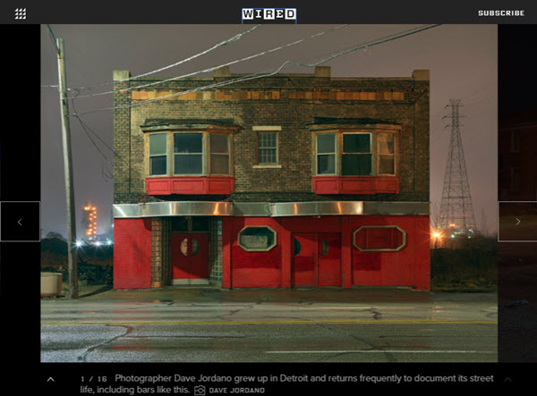 Screenshot of article about Dave Jordano and his photos of Detroit posted on WIRED