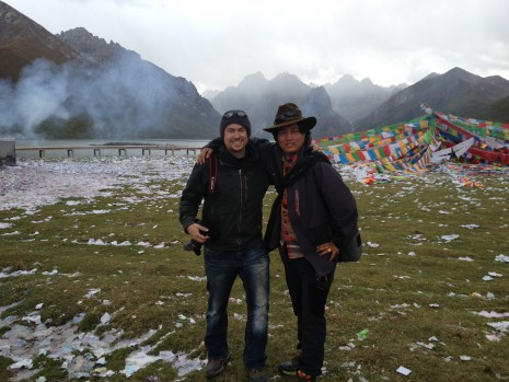 My guide, translator, assistant, and friend, Tserang, and I on a rare break.