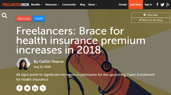 Screenshot of article posted at Freelancers Union