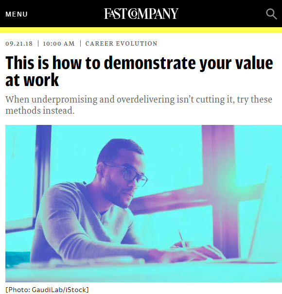 Screenshot of article posted on Fast Company Web Site