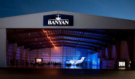 photo: © 2012 Vince DeVries. On Wings of Hope Premiere in a 20,000 square foot airplane hangar complete with aircraft.