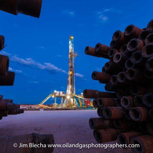 Oil Drilling Rig at Dusk