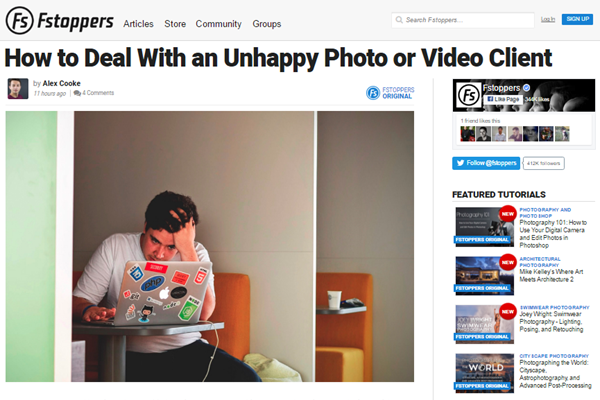 screenshot of Fstoppers article about unhappy clients