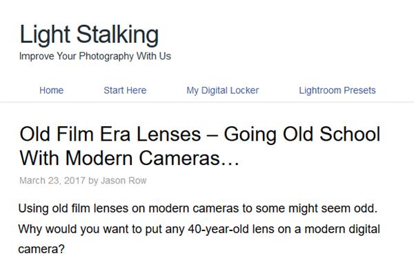 SCreenshot of OLd Film Lenses article on Light Stalking