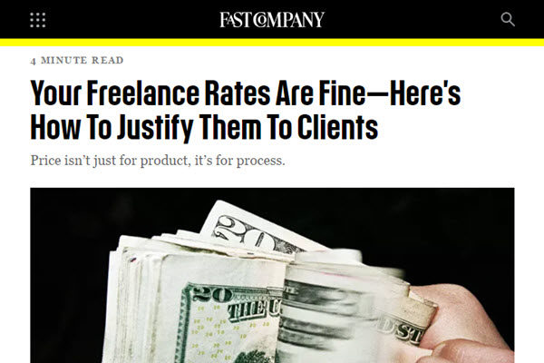 screenshot of freelance rates article at Fast Company