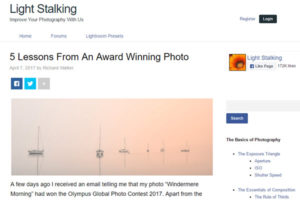 screenshot of award winning photo from article at Light Stalking