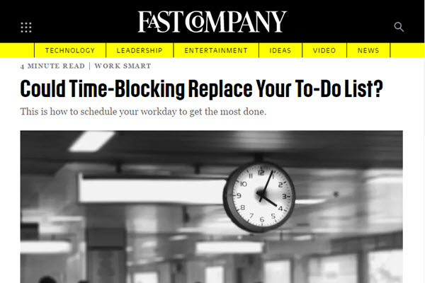 screenshot of time-blocking article from Fast Company