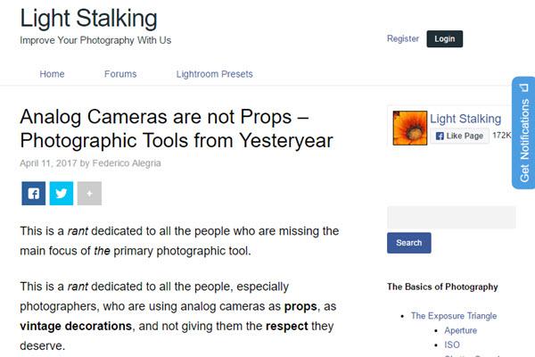 screenshot of analog camera article at Photo Stalking