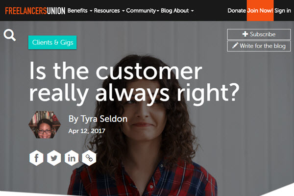 screenshot of customer always right article at Freelancers Union blog