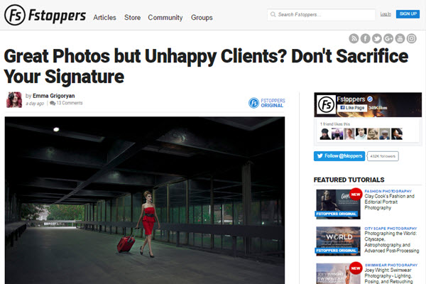 screen shot of unhappy clients article at Fstoppers