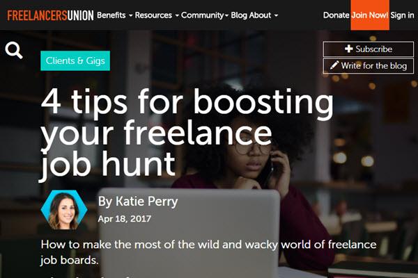 screenshot of job hunting article at Freelancers Union Blog