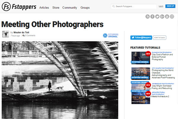 screenshot of Meeting Other Photographers article at Fstoppers