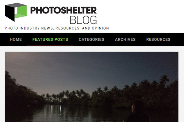 screenshot of ISO article at PhotoShelter Blog