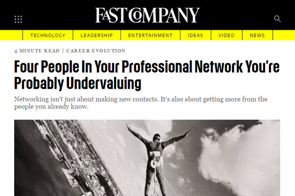 Screenshot of professional network article at FastCompany
