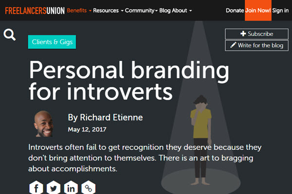 Screenshot of Personal Branding article at Freelancers Union Blog