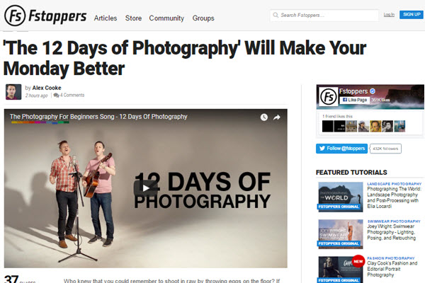 screenshot of article on Fstoppers