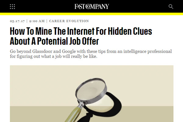 Screenshot of article at Fast Company