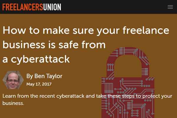 screenshot from article on preventing cyberattacks on Freelancers Union Blog