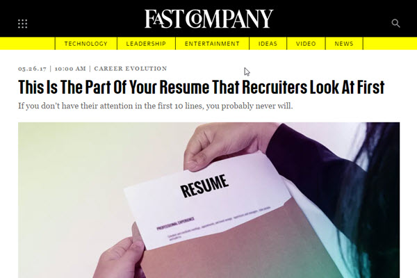 Screenshot of article on resumes on Fast Company web site