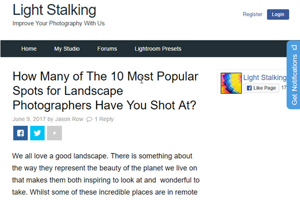 Screenshot of landscape photograpy article at LightStalking