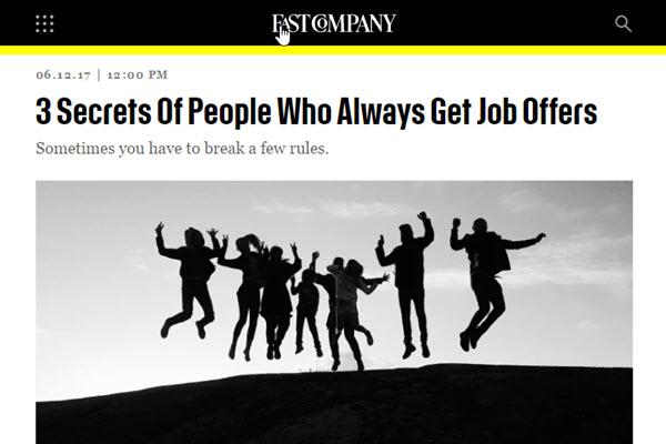 Screenshot of job hunting article at Fast Company