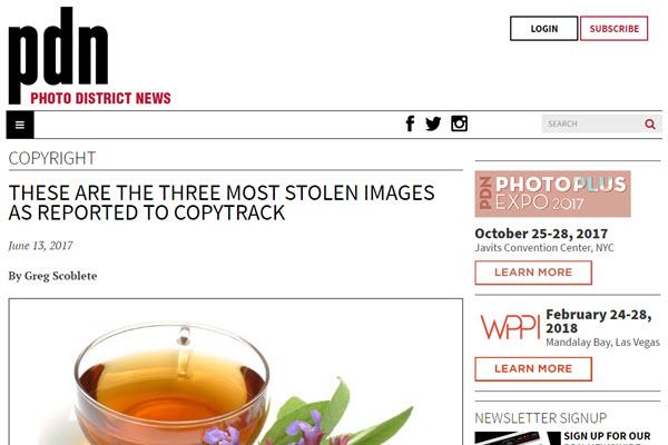screenshot of stolen photos article from PDN Online