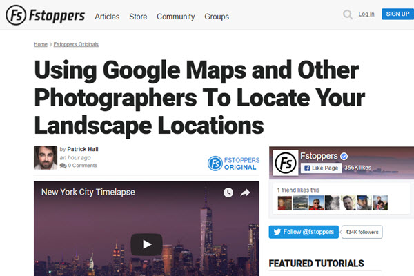 Screenshot of article at Fstoppers.com