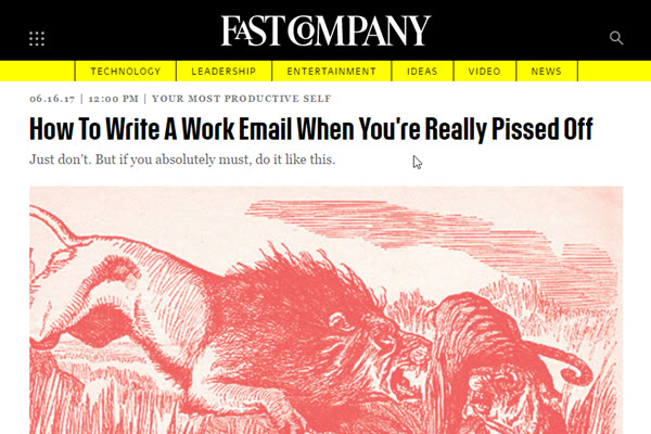 Screenshot of writing bad emails at Fast Company