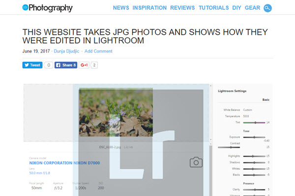 Screenshot of article about Pixel Peeper from DIYPhotography.net